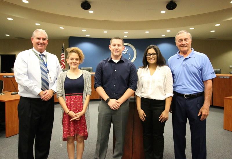 Haylee Marshall, Tyler Powell, Astha Patel, Superintendent Kayrell, and Hemet Education Foundation founder Ron Breyer