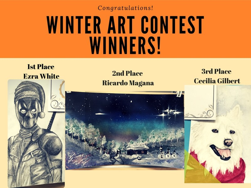 Winners of the winter art contest.  Pictures of their art.