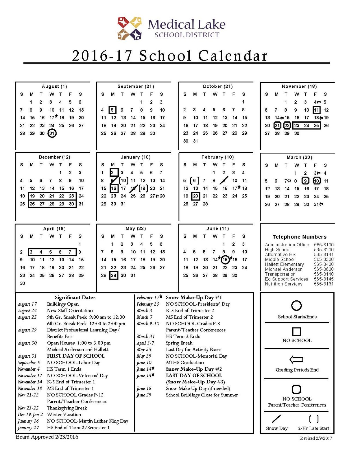 2016.17 School Year Calendar Reflects Make-Up Snow Days