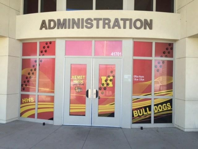 Hemet High School door graphics