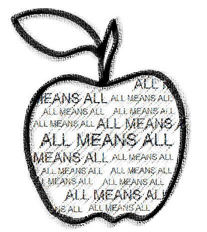Animated apple with the phrase