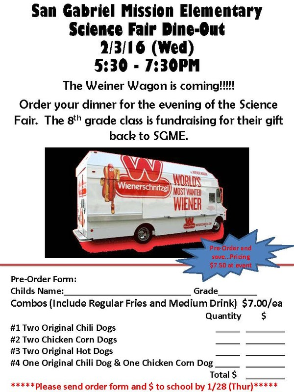 WEINER WAGON COMES TO MISSION! - Open House & Science Fair