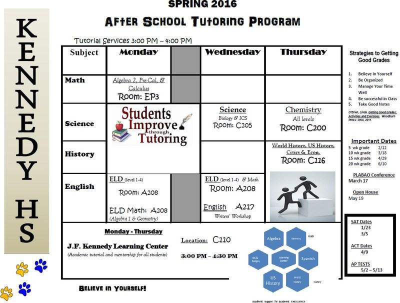 Spring 2016 Tutoring Schedule