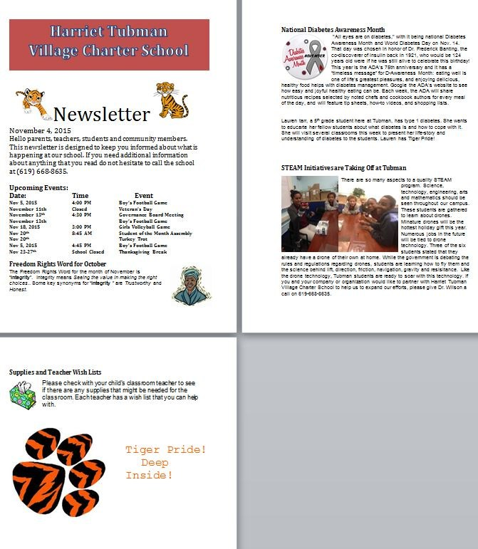 Newsletter November 4, 2015