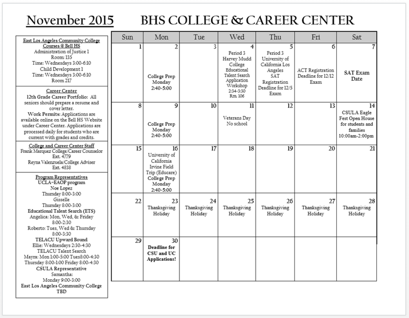 College Center Announcements for November