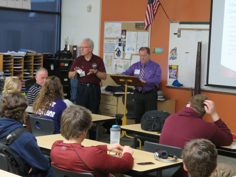 Middleville Village officials talk with TKHS government students about their duties and responsibilities.
