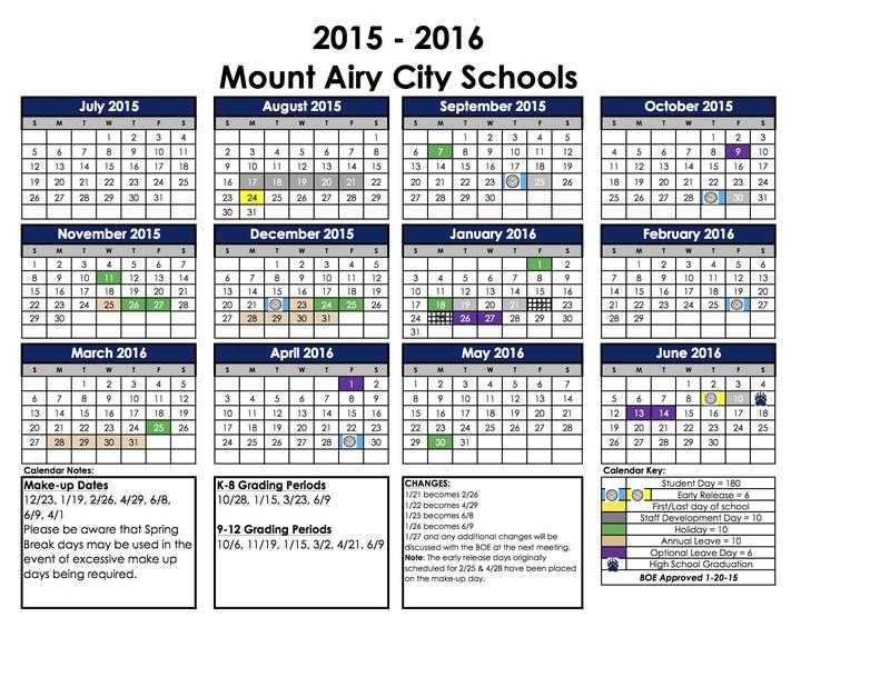Updated School Calendar