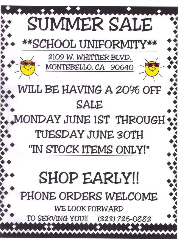 School Uniform Sale in June