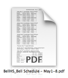 Special Bell Schedule for May 1 - May 8