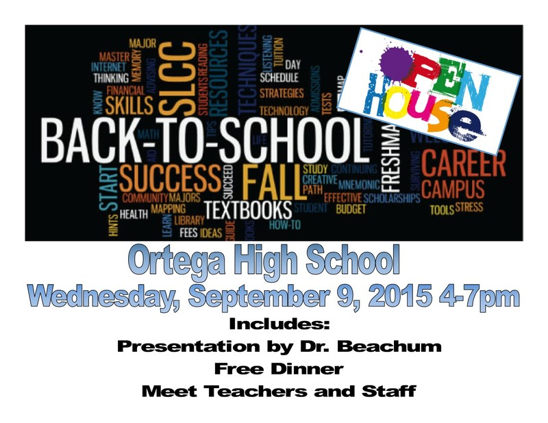 Back To School / Open House - Wednesday, Sept 09, 2015