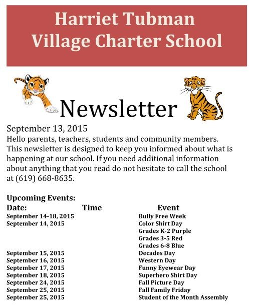 Newsletter - September 13, 2015