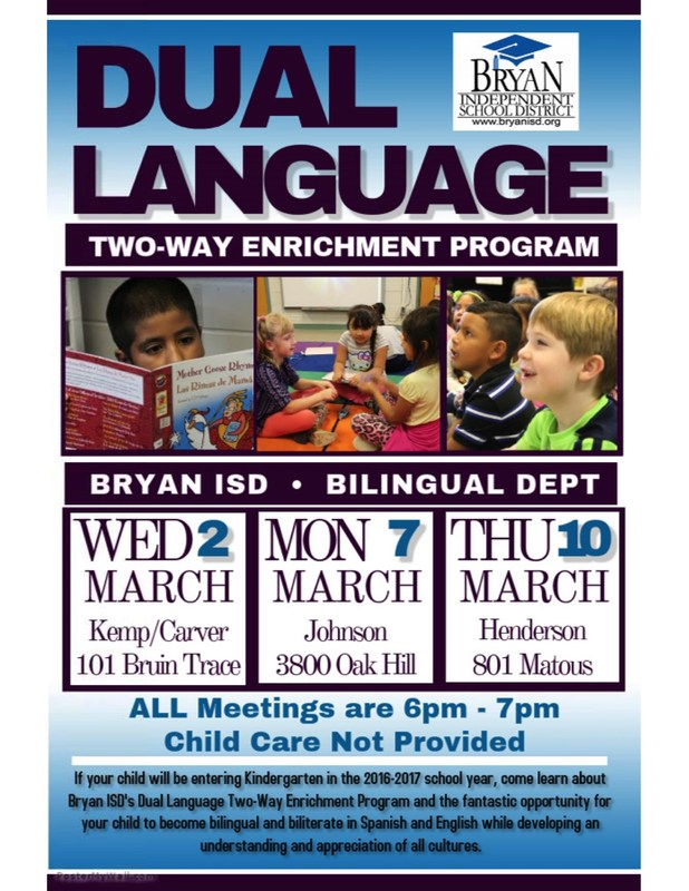 March 2, 7 & 10: Dual Language Info. Sessions