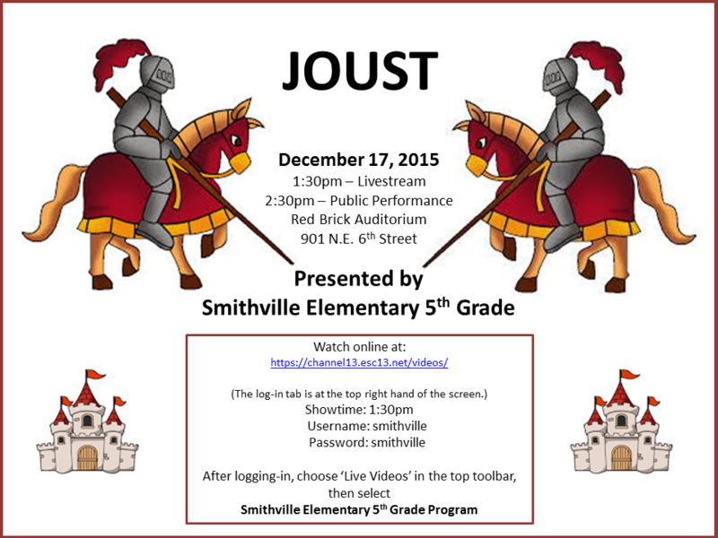5th Grade Musical Joust to be Livestreamed