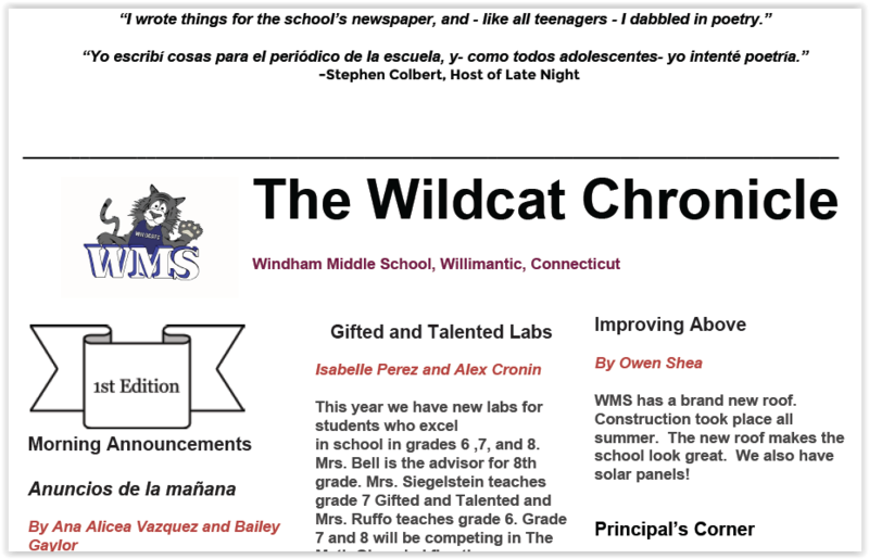 WMS anounces it's first edition of the Wildcat Chronicle! Thumbnail Image