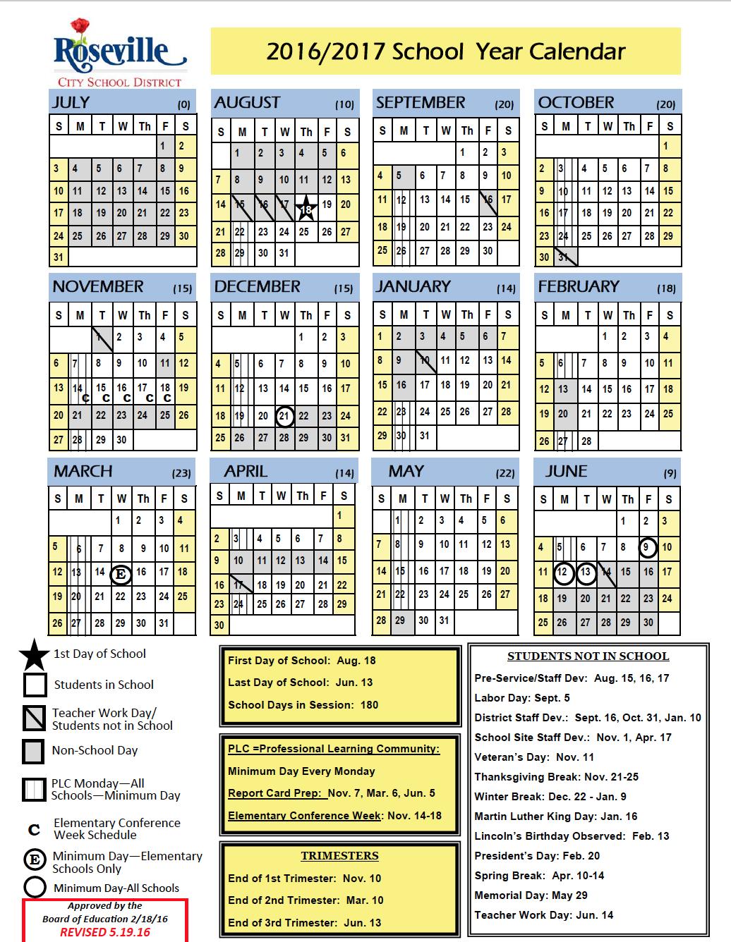 Rscd District Calendar Chilton Middle School Roseville City School District