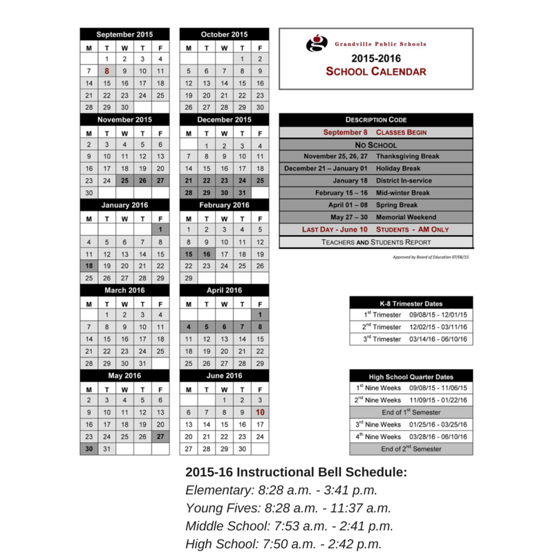 2015-16 Bell Schedule and District Calendar