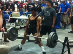 Hutto HS's Davion Aldridge competes in state powerlifting meet