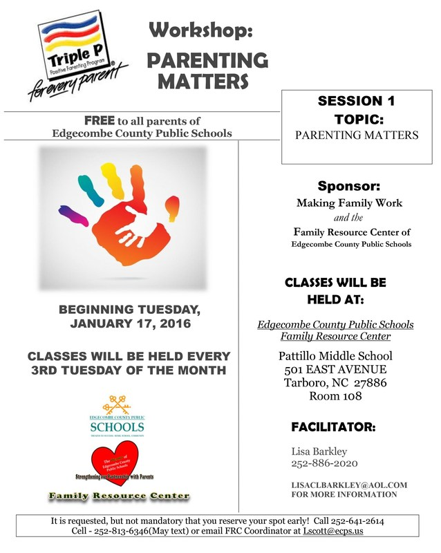 ECPS Family Resource Center to host Parenting Workshop Thumbnail Image