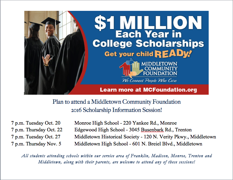 Plan to attend a MCF 2016 Scholarship Information Session!