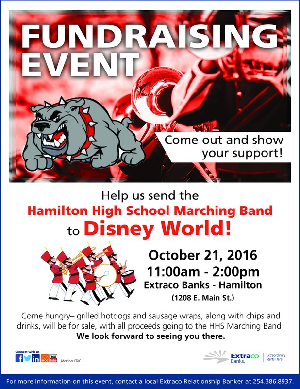 Extraco Bank Fundraiser to help send the HHS Band to Disney! 10-21-16 Thumbnail Image