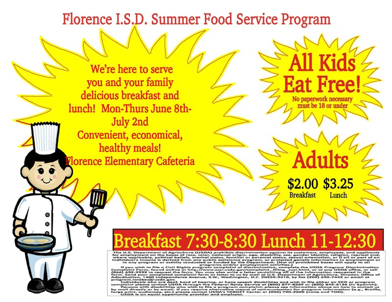 Florence ISD Food Services Summer Meal Program Info.