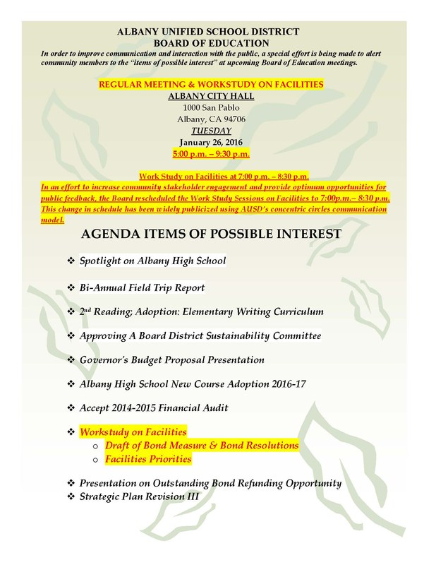 Agenda Items of Possible Interest -1/26/16 Board of Education Regular Meeting  & Workstudy on Facilities (click for info)