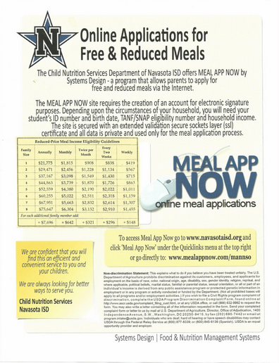 CHILD NUTRITION INFORMATION REGARDING FREE AND REDUCED LUNCH!