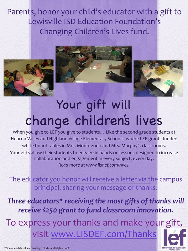 LEF's Changing Children's Lives Award-A Great Way to Thank a Teacher!