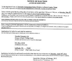 AISD Board of Education Election Notice- 3 Board Members at large slated.