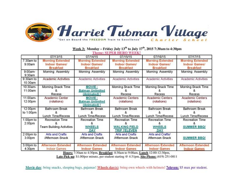 Tubman Summer Program Week 6 - Theme:(Fun To Be Fit)