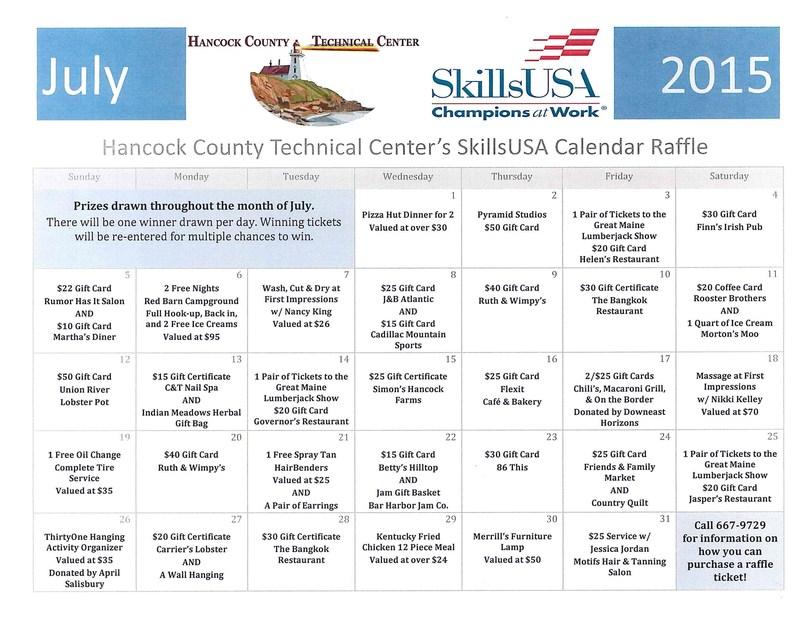 Calendar Raffle Tickets for Sale!