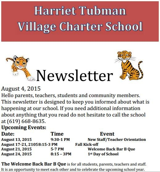 Newsletter - August 4, 2015