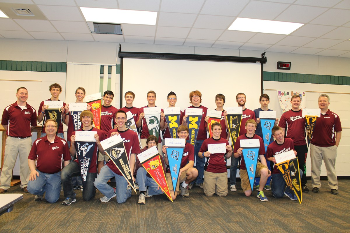 seniors with their college pennants