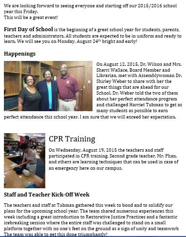 Newsletter - August 21, 2015