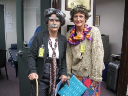 Mr. Birst and Miss Bindergarten -- our subs for the 100th day of school!