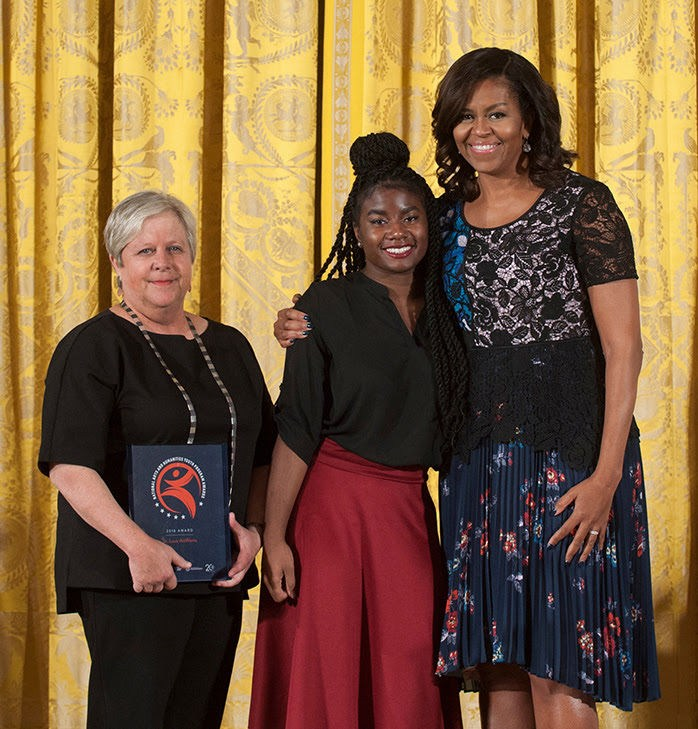 Priscilla Block, AnnaLise Cason and First Lady Michelle Obama, Nov. 2016
