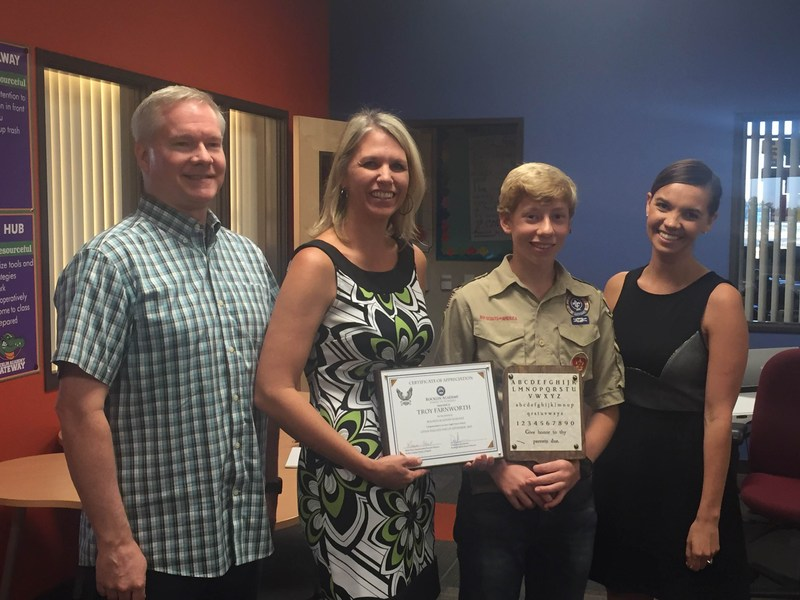 Troy Farnworth recognized for Eagle Scout Project