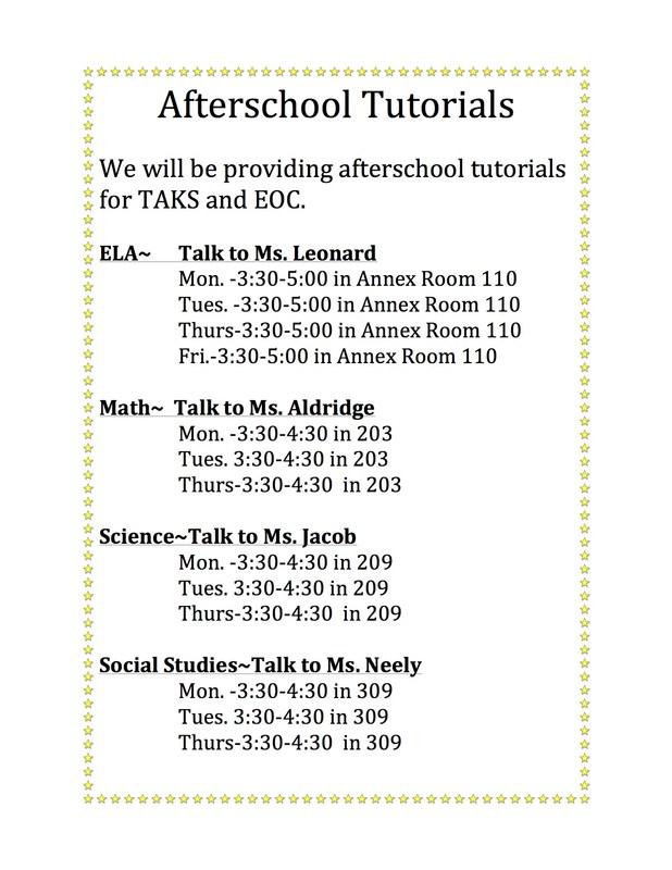 Tutorial Schedule for EOC andTask
