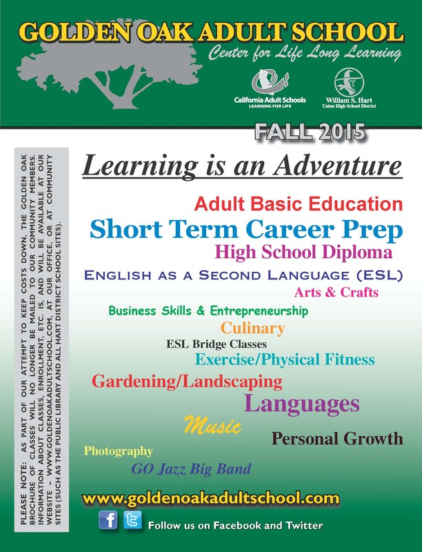 Golden Oak Adult School Fall Classes Announced
