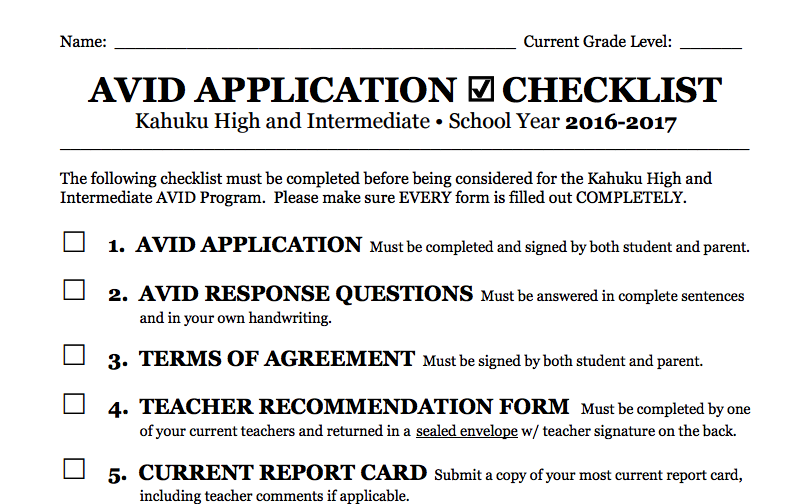 2016-17 AVID application form