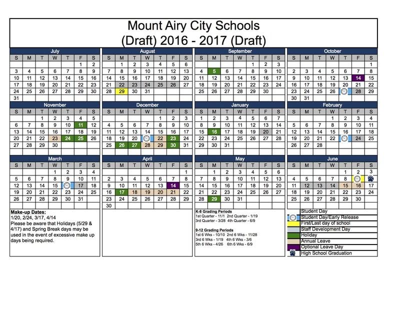 DRAFT 2016-2017 School Calendar