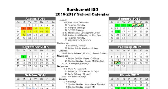 2016-2017 BISD Calendar Thumbnail Image