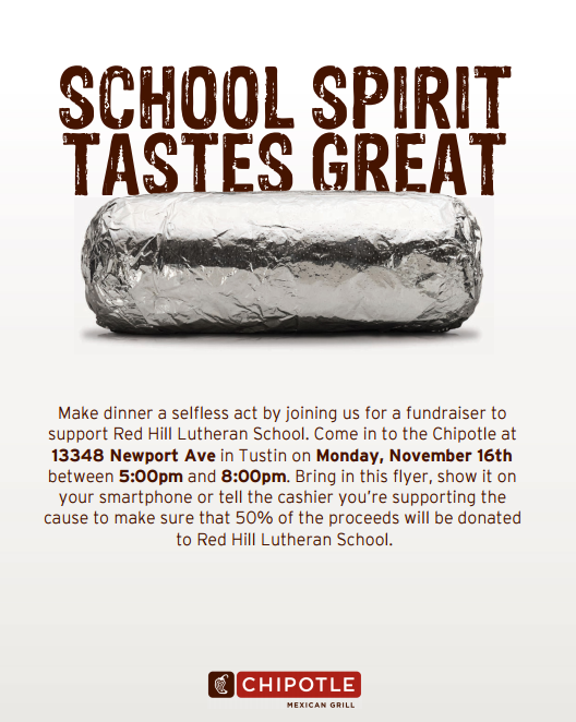 Chipotle Family Dinner Night November 16 from 5:00-8:00 PM!