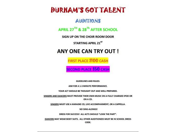 Durham's Got Talent Auditions