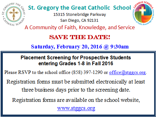 Placement Screening for Prospective Students entering Grades 1-8 in Fall 2016