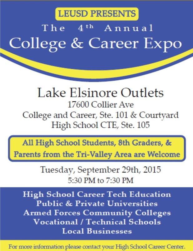 College / Career Fair - Tuesday, Sept 29th, 2015