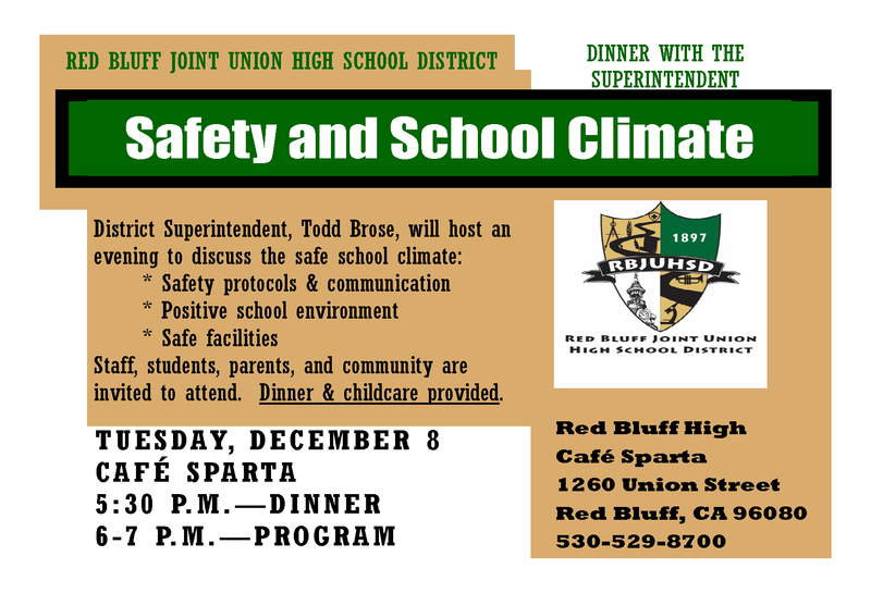 Dinner with the Superintendent Re: Safety and School Climate