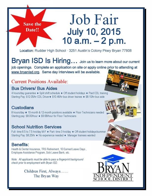 Bryan ISD is Hiring!