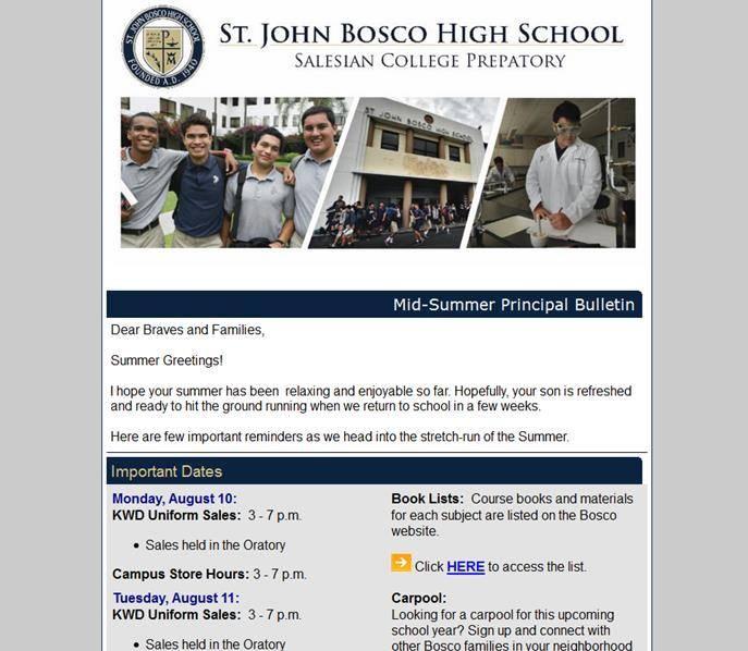 Mid-Summer Principal Bulletin