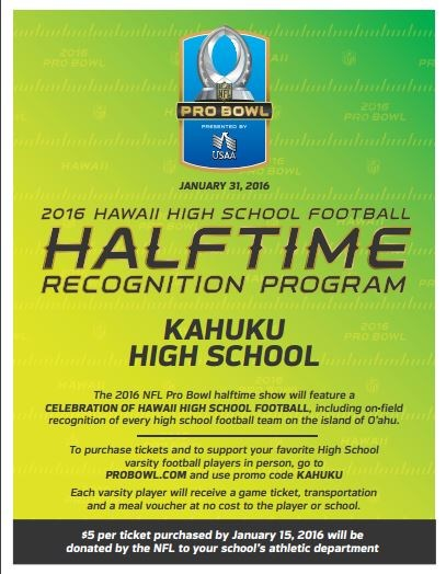 Kahuku High School Football Team to be Honored During 1/31/16 ProBowl Halftime Show!